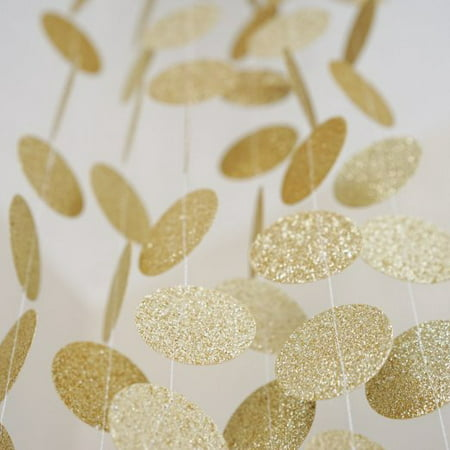 Gold Glitter Circle Polka Dots Paper Garland Banner 10 FT Banner Celebration Party Decor