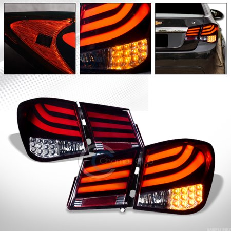 Brake Bar - R&L Racing Red Smoke Led Tube Bar Rear Tail Brake Lights Signal Lamps 4Pc 11-16 Chevy Cruze