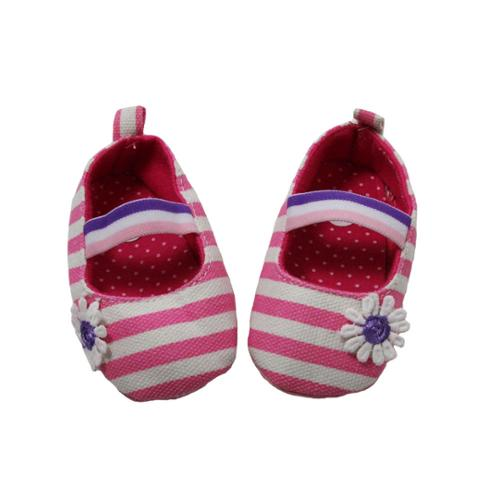 Baby Girls Pink White Striped Daisy Embellishment Crib Shoe 0-12M