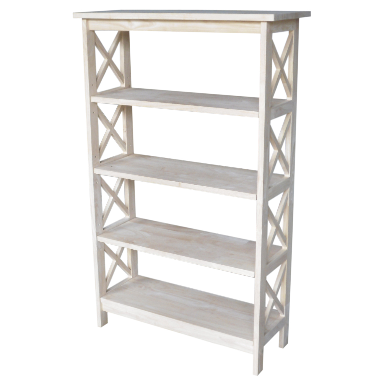 Unfinished X-sided 4 Tier Shelf Unit
