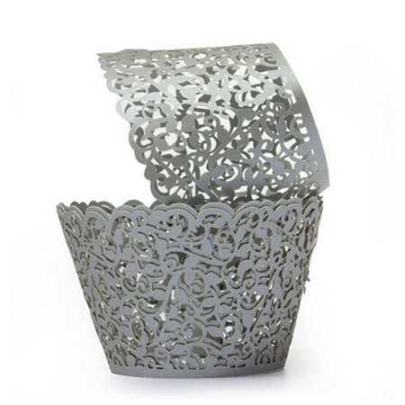 Laser Cut Cupcake Wrappers Decor Wedding Birthday Party Baby Shower Wrap (Silver), 50pcs Pack