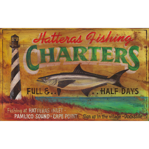 Vintage Signs Hatteras Charters Vintage Advertisement Plaque