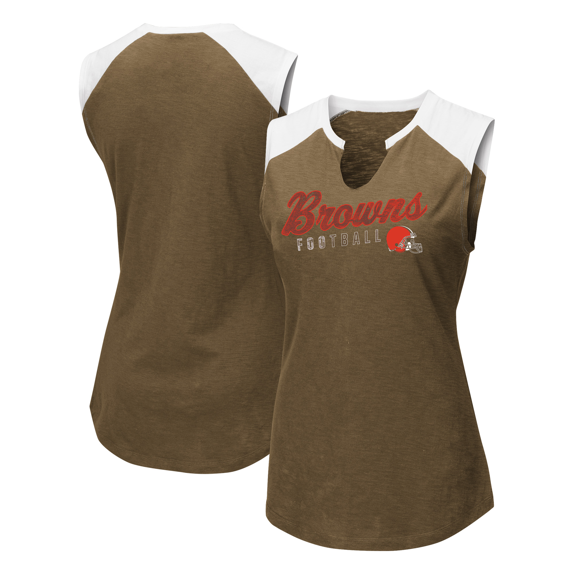 Cleveland Browns Majestic Women's V-Notch Muscle Tank Top - Brown/White