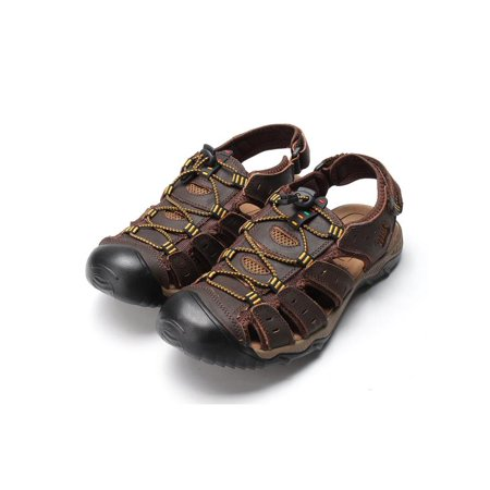 5324b650a923 CLEARANCE Men Outdoor Beach Shoes Fisherman Closed Toe Sandals Sports  Leather Flats Size9.5 - Walmart.com