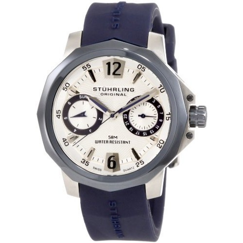 """Stuhrling Original Women's 332.122U6C2 """"Nautical Admiral"""" Matte-Finished Stainless Steel Watch with Blue Rubber Strap"""