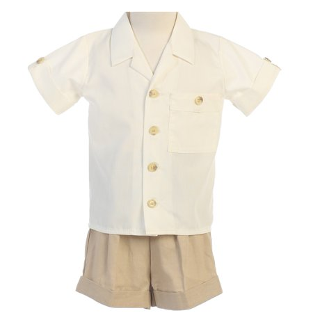 Baby Boys Khaki White Poly Cotton Shirt Rayon Linen Shorts Set - Boys White Linen Shorts