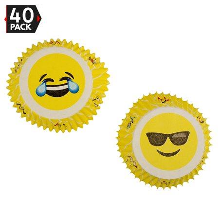 Emoji Liners Party Cupcake Holders - Emoji Birthday Party Favor (40 Pieces) - Birthday Cupcake Liners