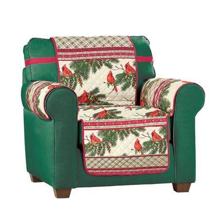 Cardinal Plaid Border Quilted Furniture Protector - Holiday Living Room decor ()