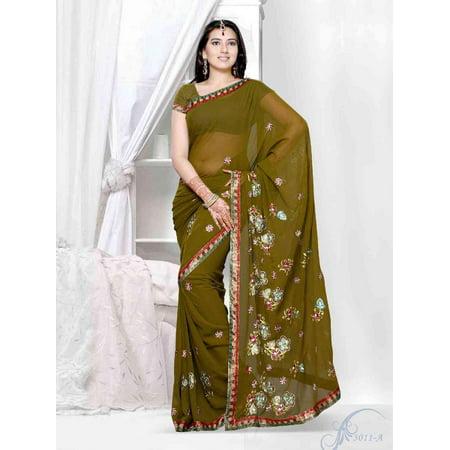 Aboli henna green Georgette Designer Party Wear Sari saree