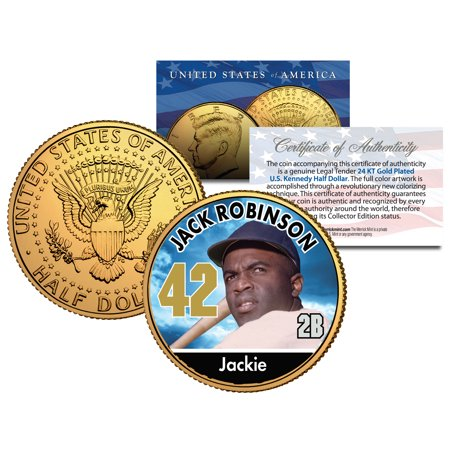 JACKIE ROBINSON ** Baseball Legends ** JFK Half Dollar 24K Gold Plated U.S. Coin