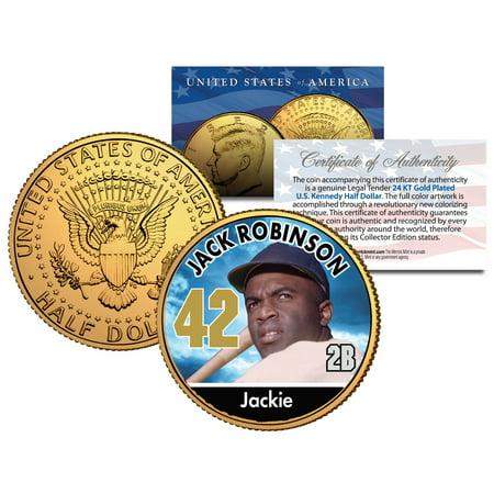 JACKIE ROBINSON ** Baseball Legends ** JFK Half Dollar 24K Gold Plated U.S. (Salada Baseball Coins)