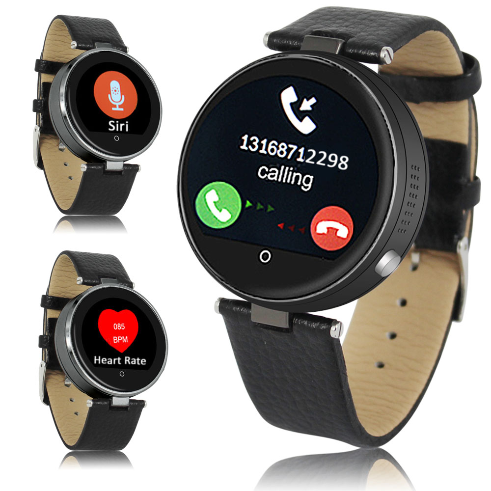 Indigi® (Black) H365 HD Heart Rate Sensor Bluetooth-Sync SmartWatch & Phone w/ SIRI for iOS & Remote shutter Android