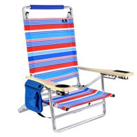 Deluxe 5 pos Lay Flat Aluminum Beach Chair w/ Cup Holder 250 lb Load Capacity