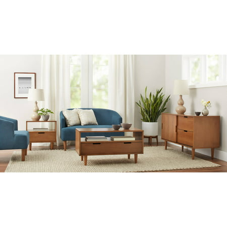 Better Homes and Gardens Flynn Mid Century Modern Coffee Table, Pecan