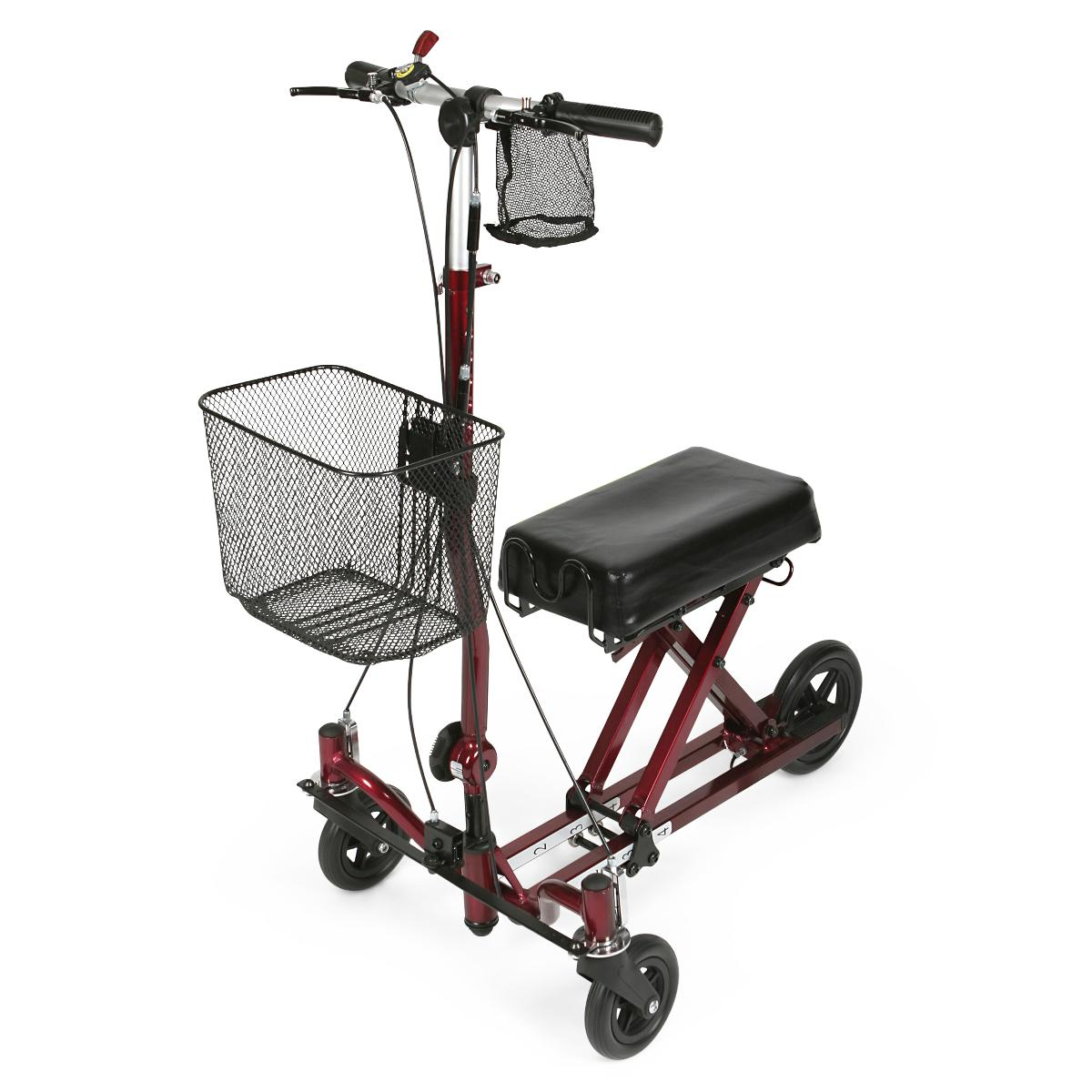 Medline Knee Walker with Hand Brake and Basket- Red
