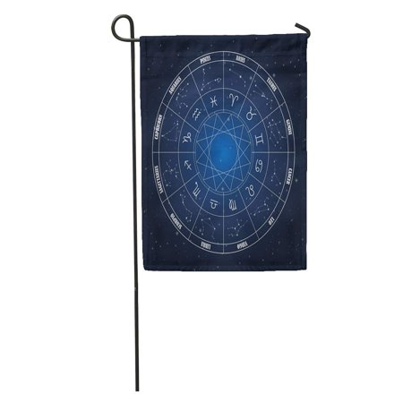 KDAGR Horoscope Zodiac Circle Astrology Sings Dark Blue Sign Calendar Pisces Garden Flag Decorative Flag House Banner 28x40 inch
