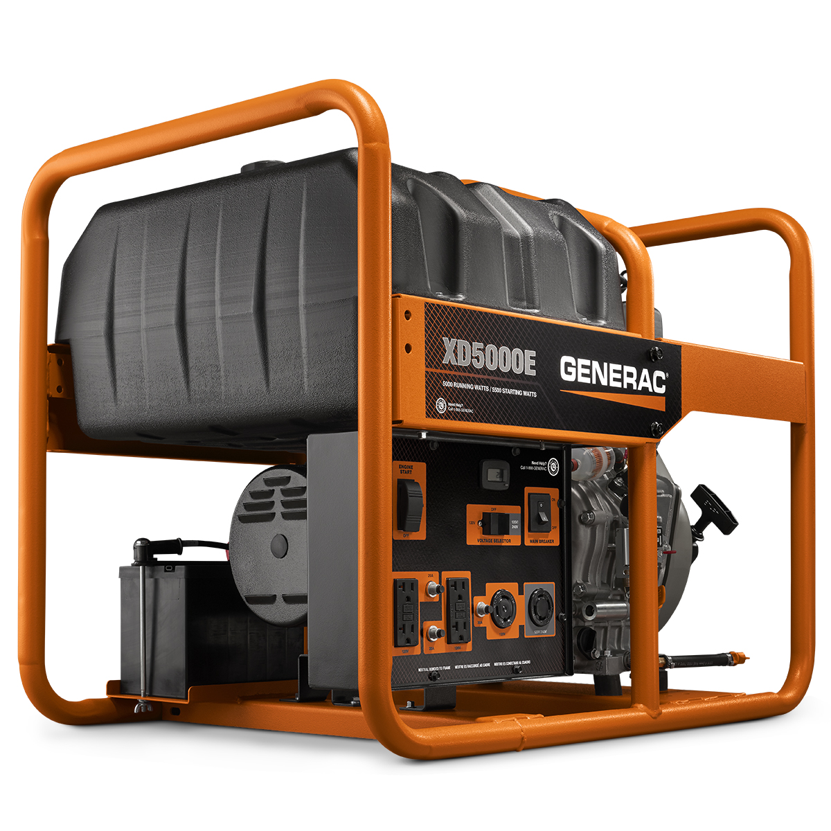 6864- 5000 Watt Electric Start Diesel Portable Generator, CARB