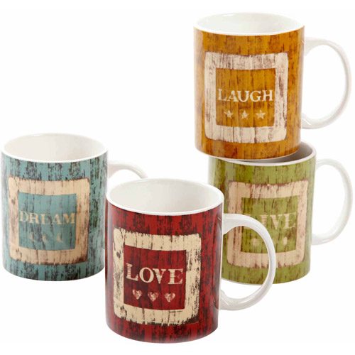 Gibson Home 4-Piece Inspiration 15-Ounce Mug Set, 4 Assorted Designs