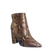 Bellflower09 by Bamboo, Pointed Toe Block Heel Bootie - Women Croc & Suede Ankle Pump Boot