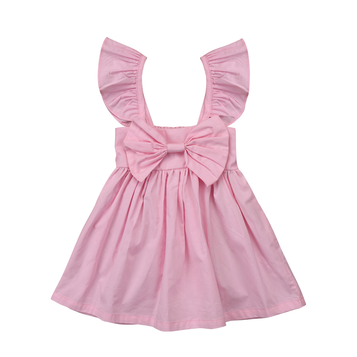 Details about  /Kids Baby Girls Summer Ruffles Ruched Solid Sleeveless Holiday Princess Dress