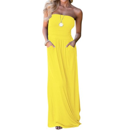Sleeveless Solid Color Strapless Maxi - A-line Strapless Sweetheart Sleeveless