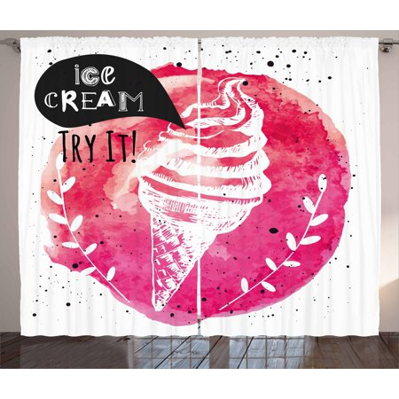 Ice Cream Decor Curtains 2 Panels Set, Yummy Figure with Try It ...