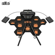SOLO SD-50 Portable Electronic Drum Pad Digital Silicone Roll-Up Drum Practice Kit with 9 Labeled Pads 2 Foot Pedals Built-in Speaker for Children Beginners