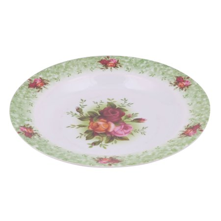 Plastic Serving Plates (Household Kitchen  Round Flower Print Fruit Food Plate Serving)