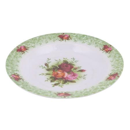 Household Kitchen Melamine Round Flower Print Fruit Food Plate Serving