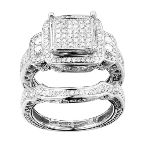Sterling Silver 1/2ct TDW Diamond Square Halo Promise Ring (G-H, I2-I3) Size 7