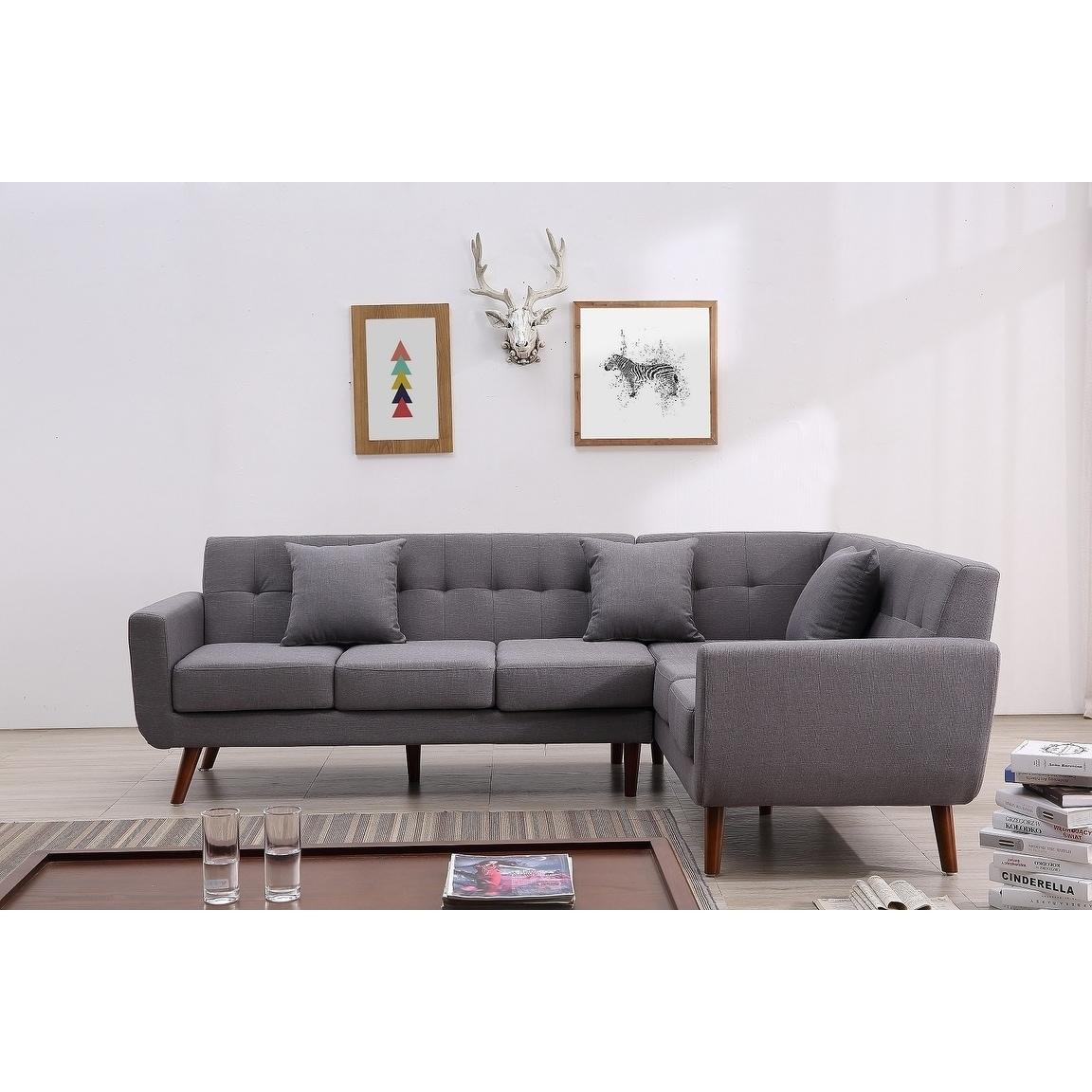 US Pride Furniture Linen Tufted Nailhead Trim Chesterfield Love Seat, Dark Grey, S5280-L