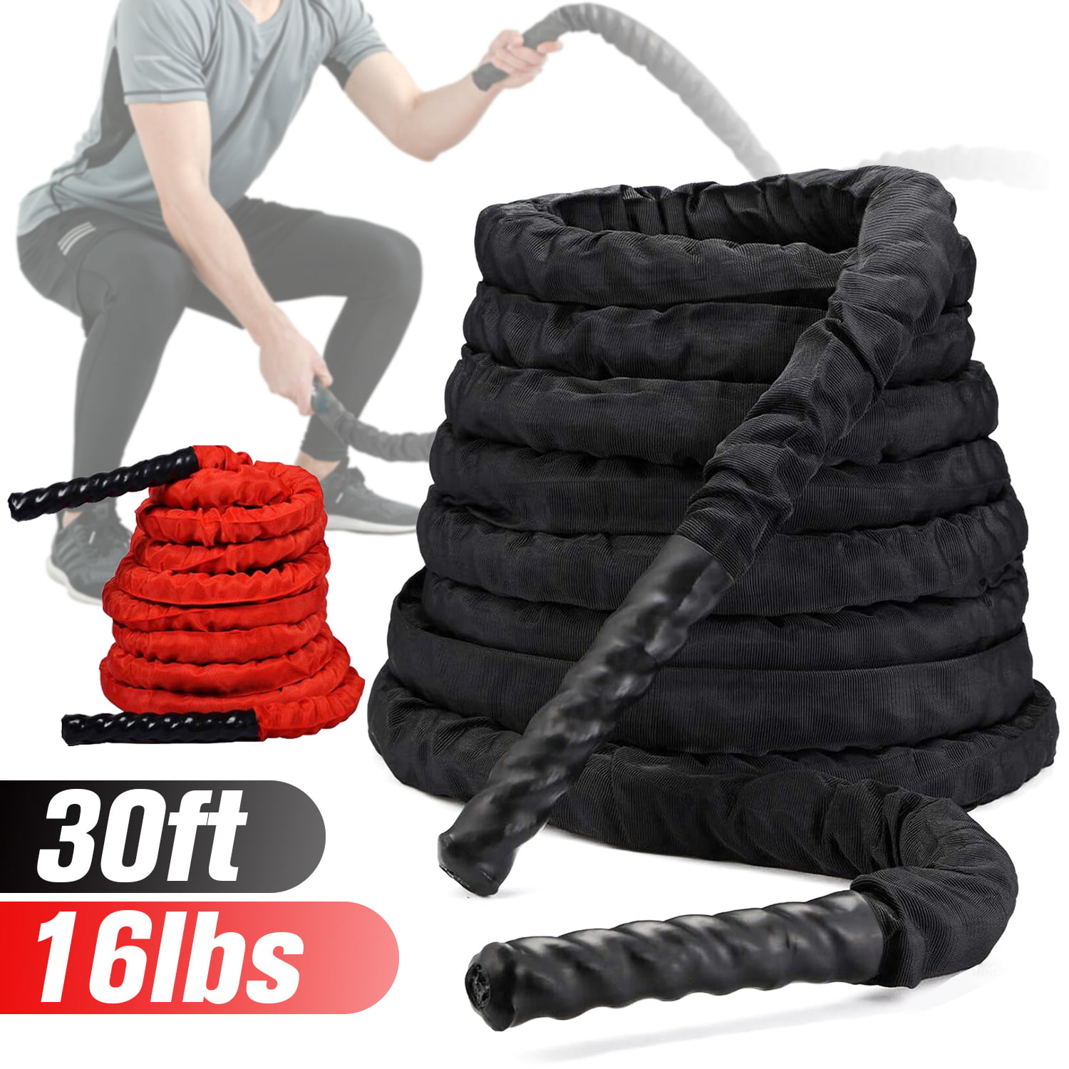 Details about  /30Ft Poly Dacron Battle Rope Strength Training Outdoor Climbing Protection Rope