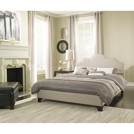 premier jordan queen upholstered platform bed frame taupe with bonus base wooden slat system - Upholstered Platform Bed Frame