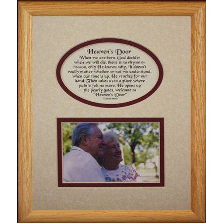 8X10 Heaven's Door Picture & Poetry Photo Gift Frame ~ Cream/Burgundy Mat * Memorial * Bereavement * Sympathy * Condolence Picture And Poetry Keepsake Gift Frame