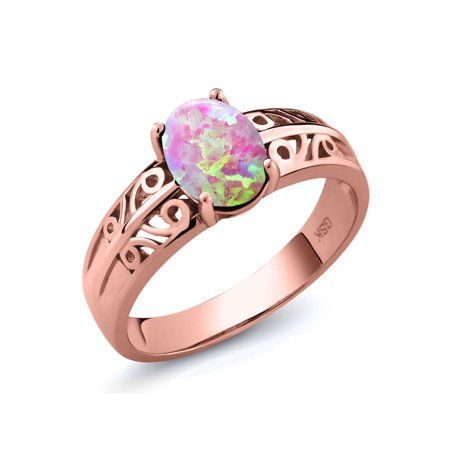 Cabochon Rose (1.05 Ct Oval Cabochon Pink Simulated Opal 18K Rose Gold Plated Silver Ring)