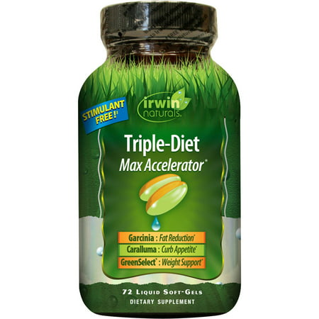 Irwin Naturals Triple-Diet Max Accelerator Fat Burner & Appetite Suppressant Weight Loss Liquid Soft Gels, 72