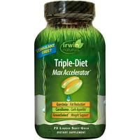 Irwin Naturals Triple-Diet Max Accelerator Fat Burner & Appetite Suppressant Weight Loss Liquid Soft Gels, 72 Ct