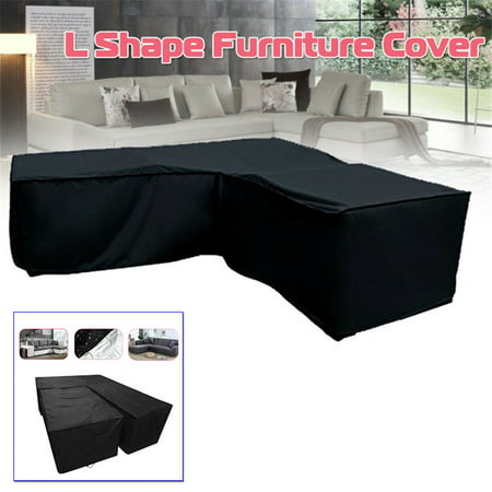 Garden Outdoor Furniture Covers, Extra Large Patio Furniture Cover for Rattan Wicker Furniture Sofa set, Waterproof L Shape Kit L shape