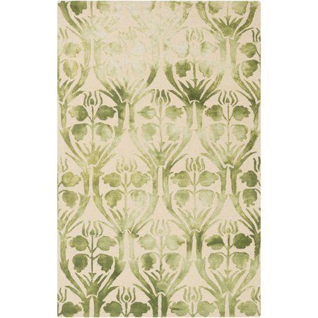 5' x 7.5' Preciosa Sea Foam Green and Alabaster Hand Hooked Wool Area Throw Rug (Nat Sea Wool)