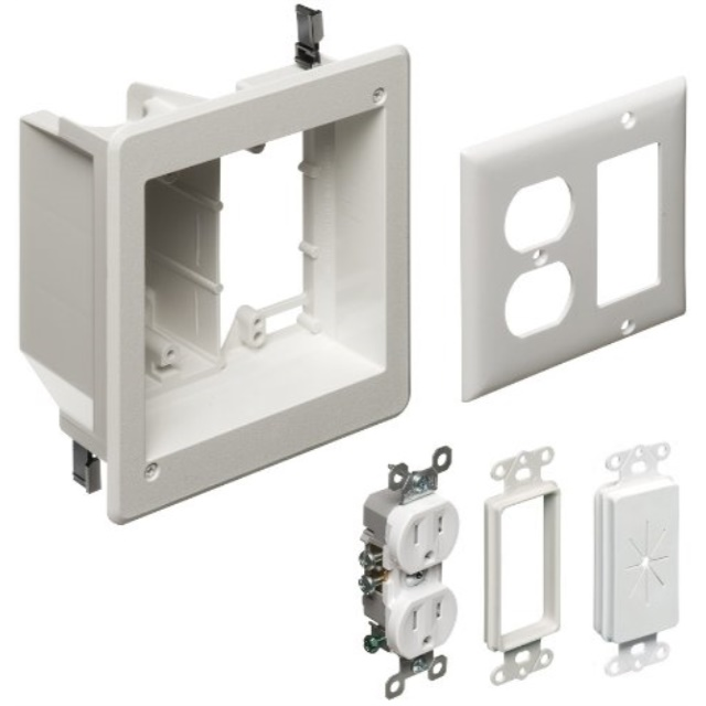 Arlington CE1-1 Recessed Low Voltage Cable Plate 1-Gang White 1-Pack
