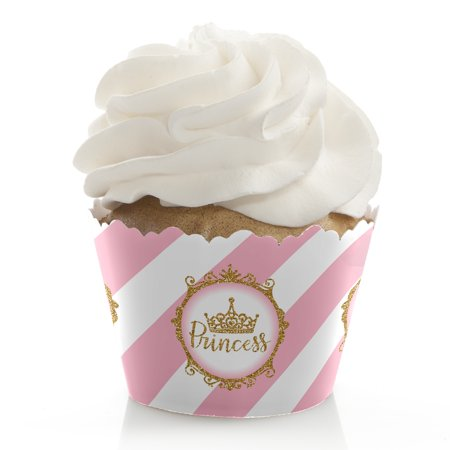 Little Princess Crown - Pink and Gold Princess Baby Shower or Birthday Party Cupcake Wrappers - Set of 12 - Baby Princess Party Supplies