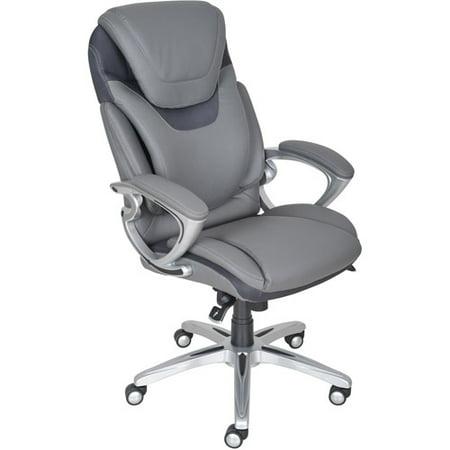 Serta Air Health   Wellness Leather Executive Office Chair  Light Grey