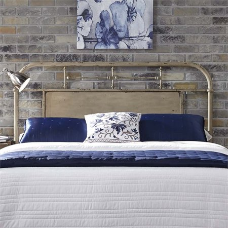 Bowery Hill Queen Metal Headboard in Distressed White ()