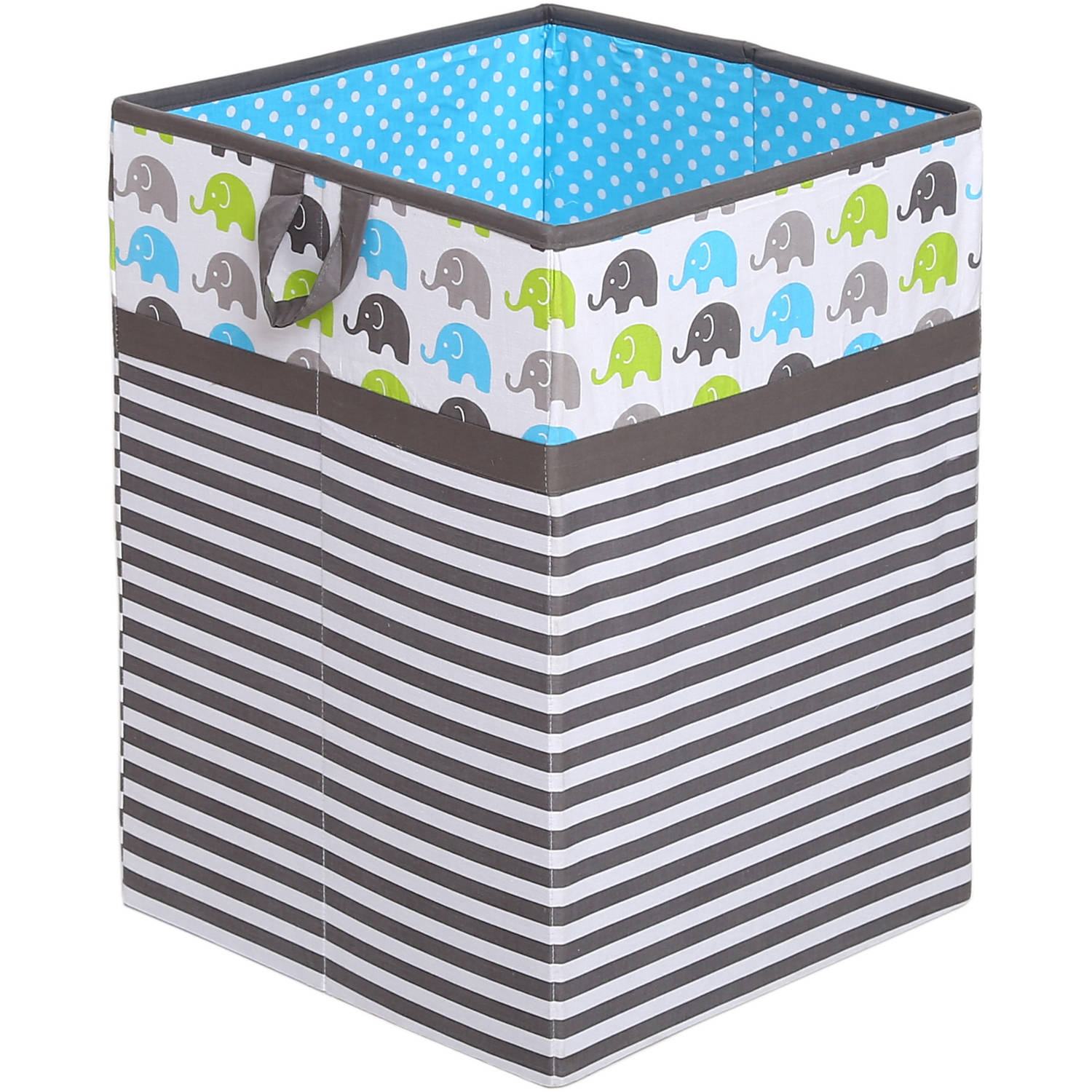 Bacati - Elephants Aqua/Lime/Gray Cotton Percale Fabric covered Storage Collapsible Hamper, 18 H x 13 W x 13 L inches
