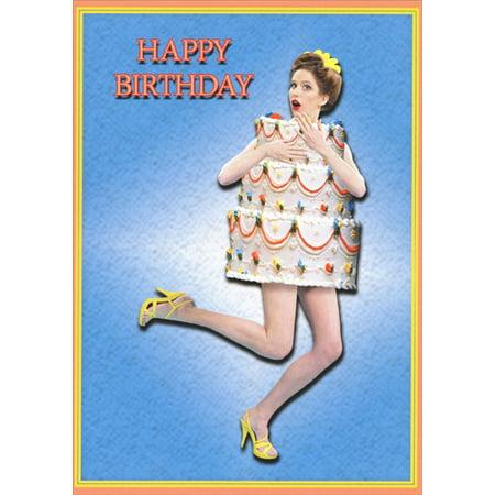 Oatmeal Studios Woman Wearing Cake Costume Funny / Humorous Birthday - Funny Costumes Women