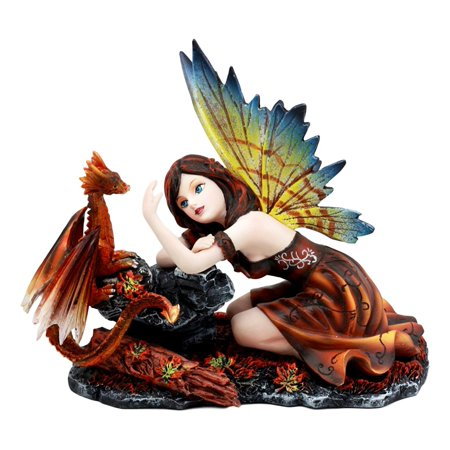 Ebros Enchanted Friendship Beautiful Fairy With Baby Dragon Statue Decorative Mythical Fantasy Figurine Collectible