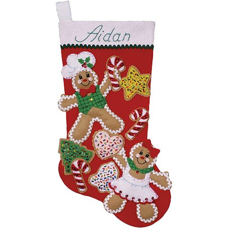 Gingerbread Friends Stocking Felt Applique Kit, 18