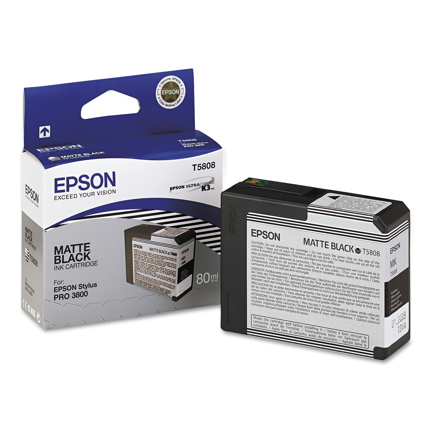 Epson T580800 UltraChrome K3 Ink, Matte Black by Epson