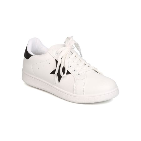 New Women Qupid Pantera-01 Leatherette Two Tone Star Patch Lace Up Sneaker