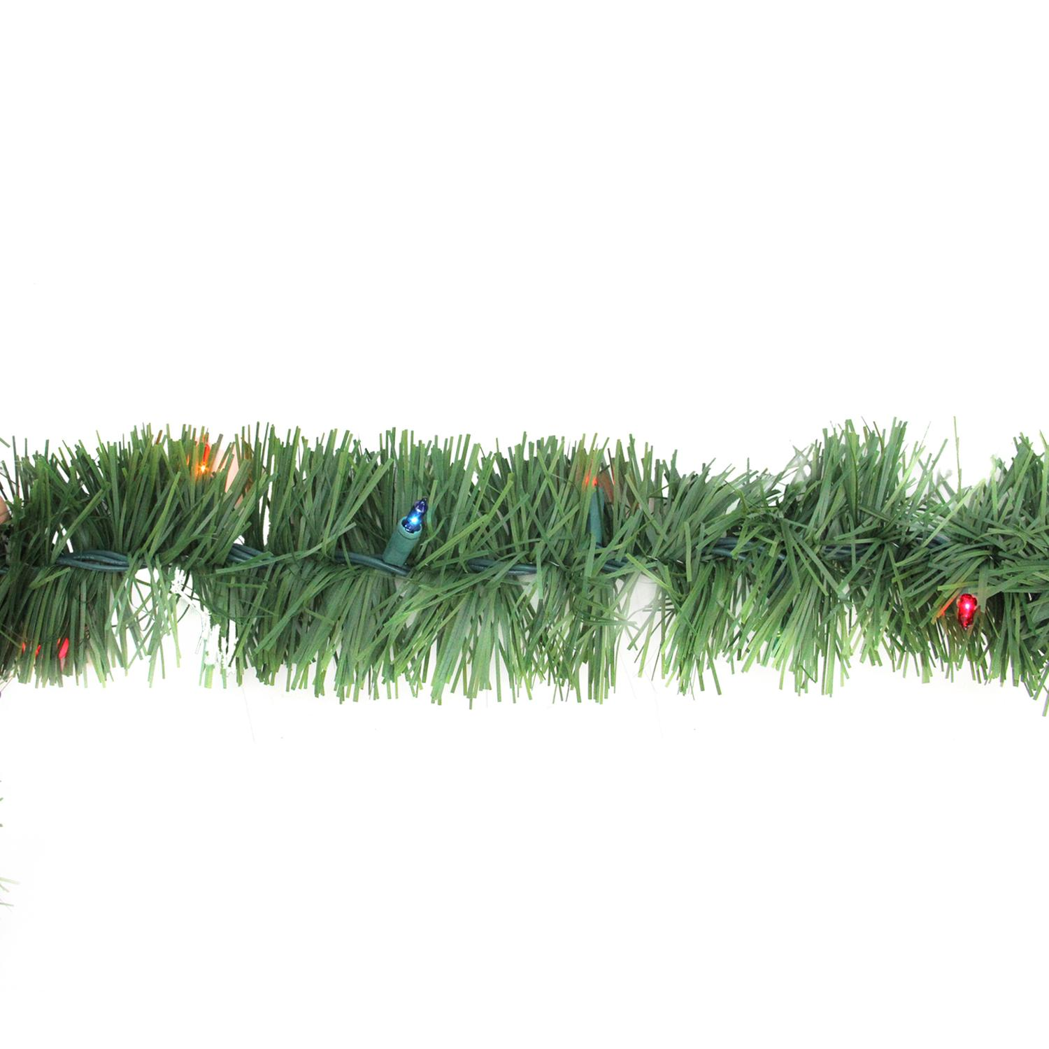 "Arett Sales 12' x 3"" Prelit Green Pine Outdoor Artificial Christmas Garland - Multi Lights"